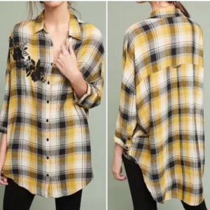Anthropologie Maeve Embroidered Plaid Button Down